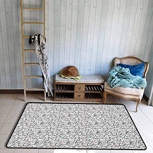 Outdoor Patio Rug,England Famous Cities in Monochrome Hand Lettering Style Bristol London Oxford,Anti-Slip Doormat Footpad Machine Washable,4'11