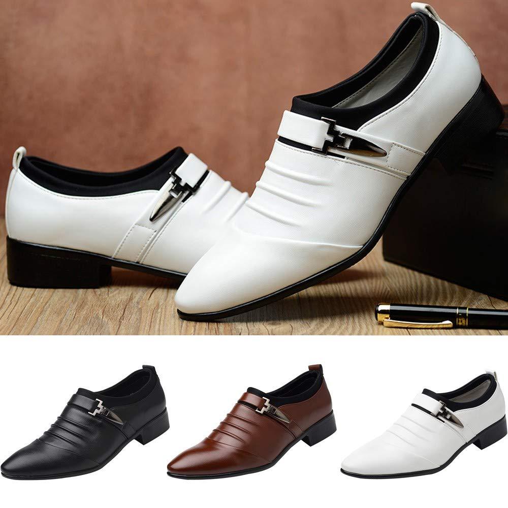 Zapatos Oxford Hombre, Zapatos de Vestir Cordones Calzado Boda Negocios Moda Uniforme Negro Marron Amarillo 38-47: Amazon.es: Zapatos y complementos