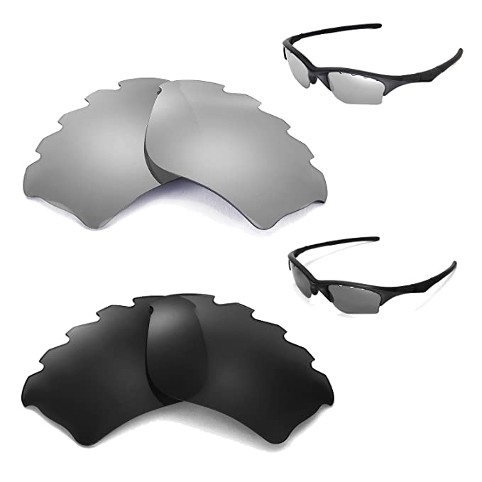 a67835695b Image Unavailable. Image not available for. Color  New Walleva Polarized  Black + Titanium Vented Lenses For Oakley Half Jacket XLJ