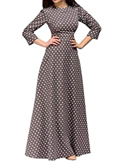 29b4b06f456 Simple Flavor Women s 3 4 Sleeve Polka Dot Print A Line Party Maxi Dress
