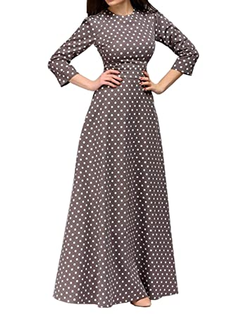 4f168a81873 Simple Flavor Women s 3 4 Sleeve Polka Dot Print A Line Party Maxi Dress at Amazon  Women s Clothing store