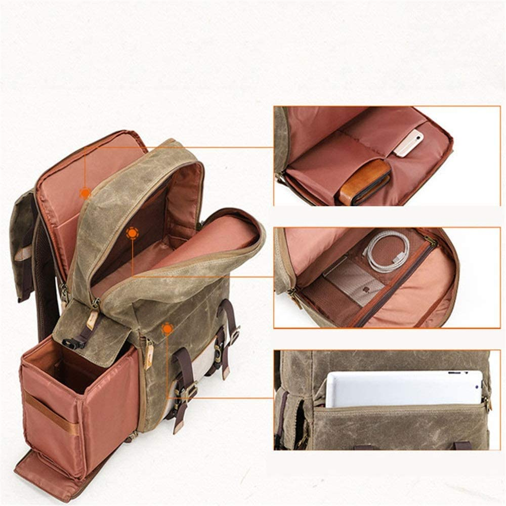 Color : ArmyGreen, Size : 31x17x45cm MDYYD Camera Backpack Photography Camera Bag Retro Waterproof Canvas Casual Backpack Lens SLR Digital Backpack Camera Bag Travel Hiking Camera Bag
