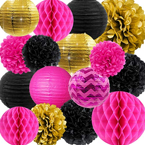 NICROLANDEE Hen Party Decorations Hot Pink and Black Tissue Pom Poms Glitter Gold Paper Lanterns Hanging Honeycomb Ball for Wedding Bridal Shower Wall Decor Valentines Decorations -