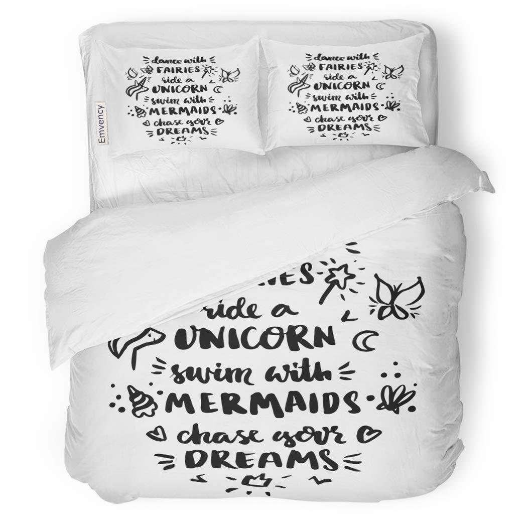 SanChic Duvet Cover Set Inscription Dance Fairies Ride Unicorn Swim Mermaids Chase Decorative Bedding Set with 2 Pillow Shams King Size