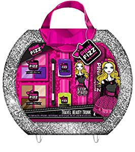 Pink Fizz All In One Travel Beauty Trunk - Packed with All-In-One Mega Beauty Case- Kids Pretend Make Up - Non Toxic and Washable
