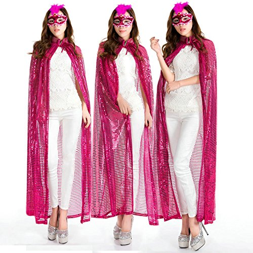 Halloween Women Cape, Sequins Fabric Cloak ,4.6 ft Length 5.9 ft Width, Thin Lightweight Lengthcloak for Halloween, Party, Cosplay. (Rose Red) - Chewbacca Costume Female