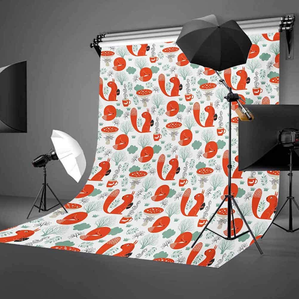 Fox 6.5x10 FT Backdrop Photographers,Small Forest Animal Pattern with Foliage Leaves and Mushroom Winter Nature Background for Baby Shower Birthday Wedding Bridal Shower Party Decoration Photo Studio