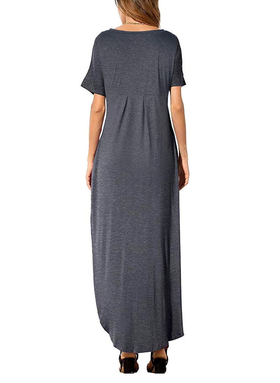 d2d1542b52d Women s Summer Maxi Dress Casual Loose Pockets Long Dress Short Sleeve  Split at Amazon Women s Clothing store