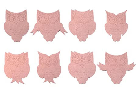 set of 8 hand made mdf owl craft shapes childrens bedroom wall art perfect