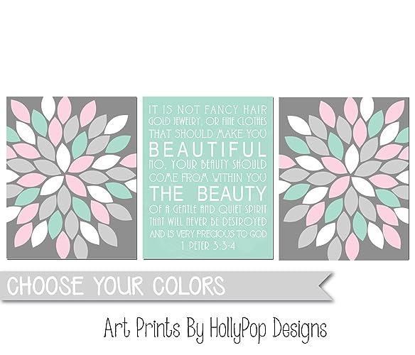 Amazon.com: Wall decor for girls, Bathroom wall art, Nursery art ...