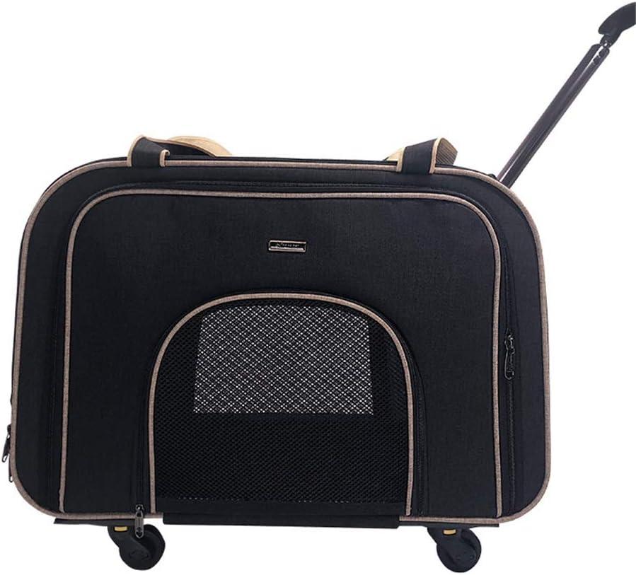 ペット用台車 ミュートラウンド取り外し可能なトロリーバッグトロリーペット犬猫ポータブルスーツケース旅行や機器用品 ペット輸送用トロリー (色 : ブラック, サイズ : 58*32*38 cm)