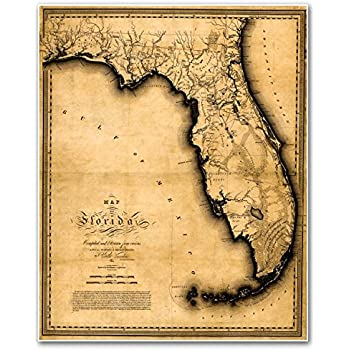 Amazon florida road map glossy poster picture photo state map of florida by charles vignoles circa 1823 measures 24 high x 30 wide 610mm high x 762mm wide publicscrutiny Choice Image