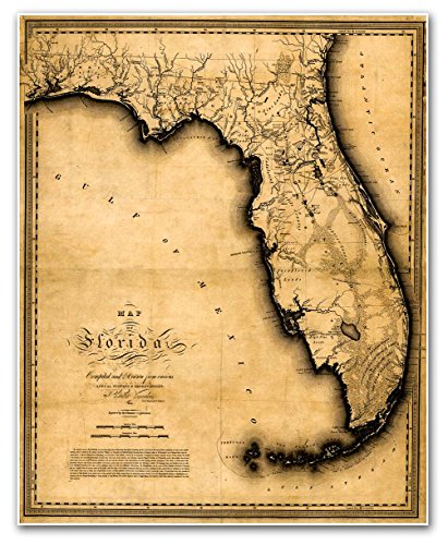 MAP of FLORIDA by Charles Vignoles circa 1823 - measures 24' high x 30' wide (610mm high x 762mm wide)