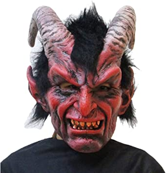 Adults Devil Skull Scary Latex Full Head And Chest Deluxe Horror Halloween Mask