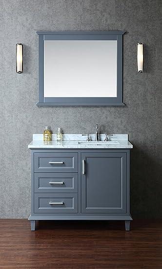 Ariel SCNAN42SWG Nantucket 42 Single Sink Bathroom Vanity Set With Marble  Top Tapered Legs And