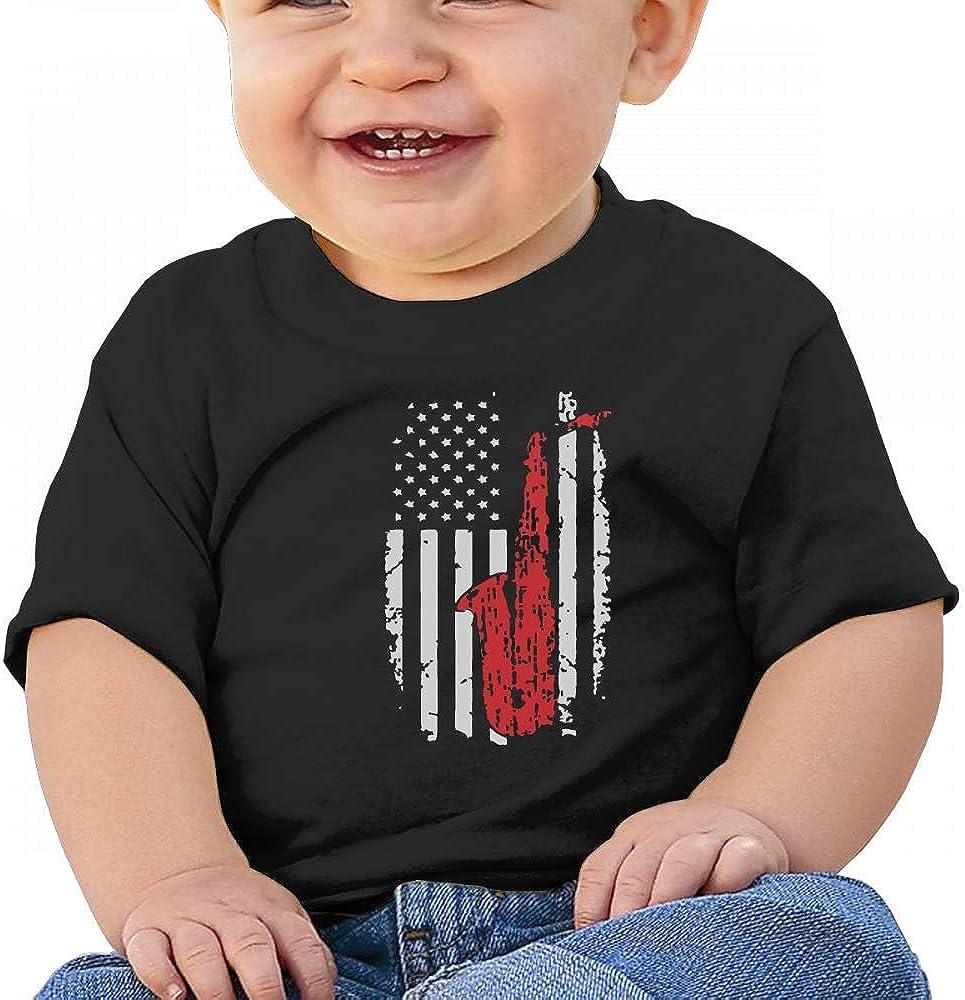 HTUAEUEHRH American Flag Sax Funny Saxophone Baby Boys Toddler Short Sleeve T-Shirts Tees