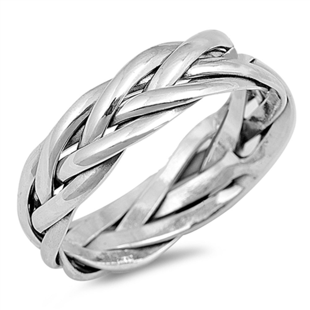925 Sterling Silver Eternity Braided Design Fashion Ring Size 10