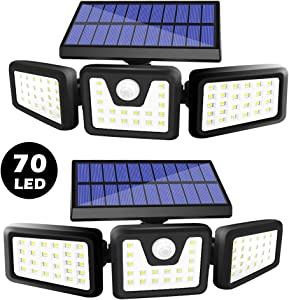 BEACON Solar Lights Outdoor, 800LM Wireless LED Solar Motion Sensor Lights Outdoor, 3 Adjustable Heads, 270° Wide Angle Illumination, IP65 Waterproof, Security LED Flood Light (2Pack)