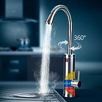 Pudin 360 ° rotation 220V robinet d'eau chaude électrique chauffe-eau instantané avec LED Digital Display pour la maison Facilities(Silver) (norme européenne)