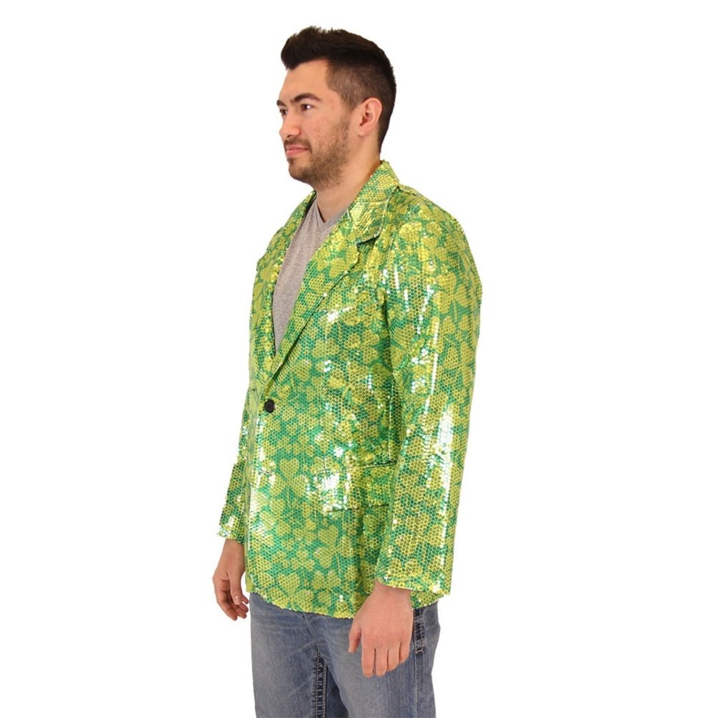 a95670640 Amazon.com: Sequin St. Patrick's Day Irish Four Leaf Clover Suit Jacket:  Clothing