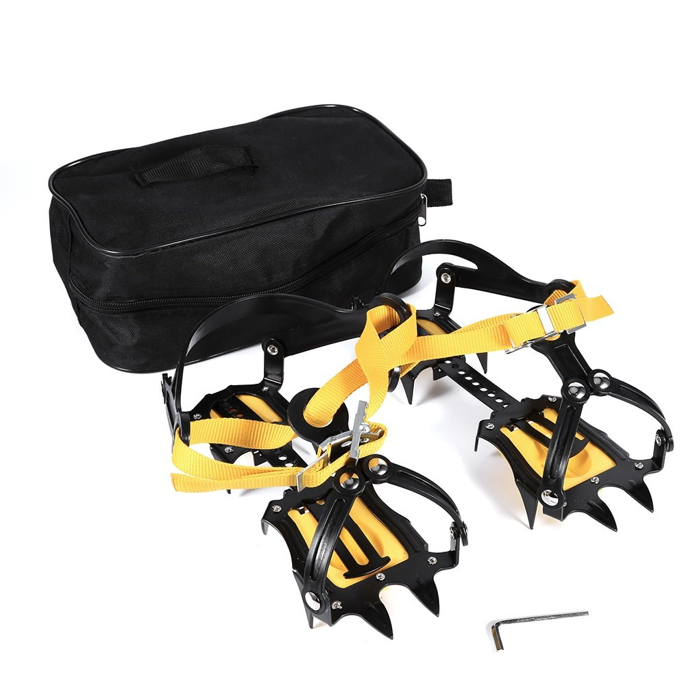 VGEBY Crampons Traction Device Cleats Mountaineering Anti Slip Crampons Ski Belt for Ice Snow Safe Protect Shoes