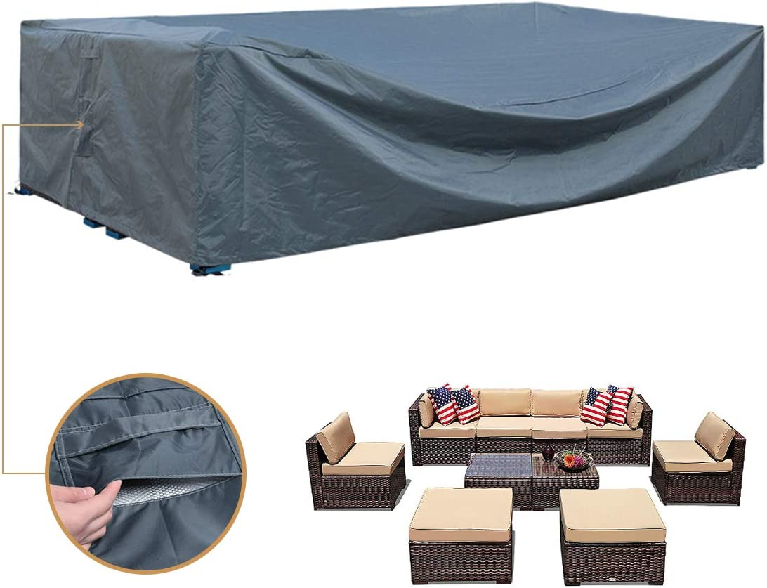 Patio Furniture Sectional Set Cover Waterproof Outdoor Table and Chair Covers Durable Heavy Duty Extra Large 126 L
