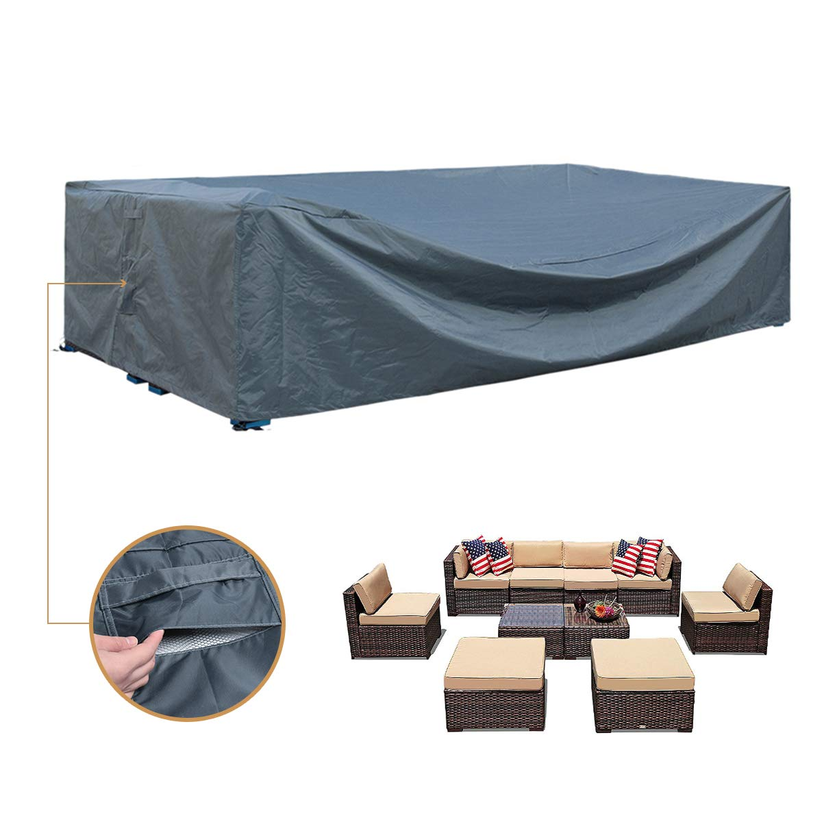 Patio Furniture Set Covers Waterproof Outdoor Sectional Conversation Loveseat Sofa Set Covers Waterproof Patio Table Covers Heavy Duty 128'' L x 83'' W x 28'' H