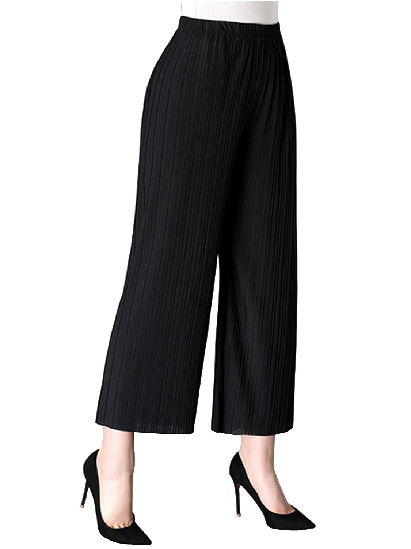 AUSZOSLT Women's One Size Elastic High Waist Wide Leg Flowy Pleated Crop Pants Black by AUSZOSLT (Image #2)