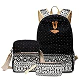 Abshoo Canvas Dot Backpack Cute Lightweight Teen Girls Backpacks School Shoulder Bags (Black)
