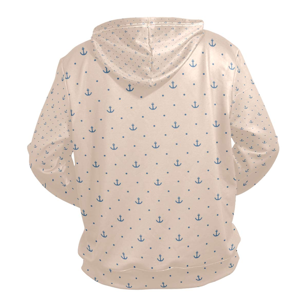 Mens Hoodies Sweaters Navy Blue Anchor and Dots Pink Fashion Hoodies