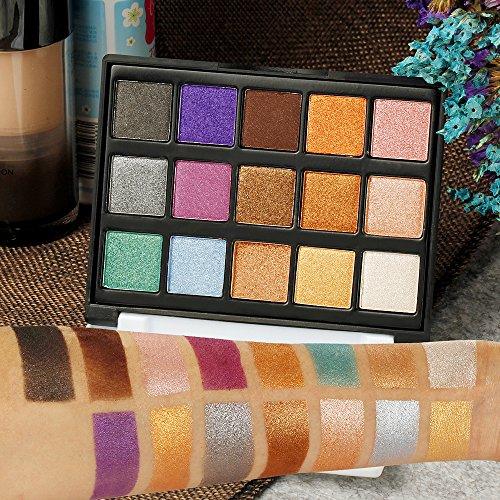 Eyeshadow Makeup Palette, DE'LANCI Travel15 Colors Shimmer & Giltter Cosmetic Eye Shadows Mini Makeup Pallet