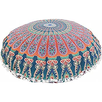 """Large 32"""" Round Pillow Cover, Decorative Mandala Pillow Sham, Indian Bohemian Ottoman Poufs, Pom Pom Pillow Cases, Outdoor Cushion Cover (Pattern 6)"""