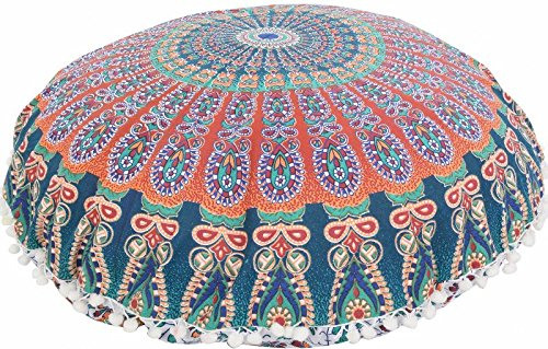 Large 32'' Round Pillow Cover, Decorative Mandala Pillow Sham, Indian Bohemian Ottoman Poufs, Pom Pom Pillow Cases, Outdoor Cushion Cover (Pattern 6) by Trade Star Exports