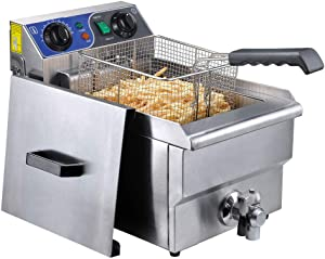 WeChef Commercial Electric Large Deep Fryer Stainless Steel Timer Drain French Fry Restaurant Kitchen Equipment 11.7L