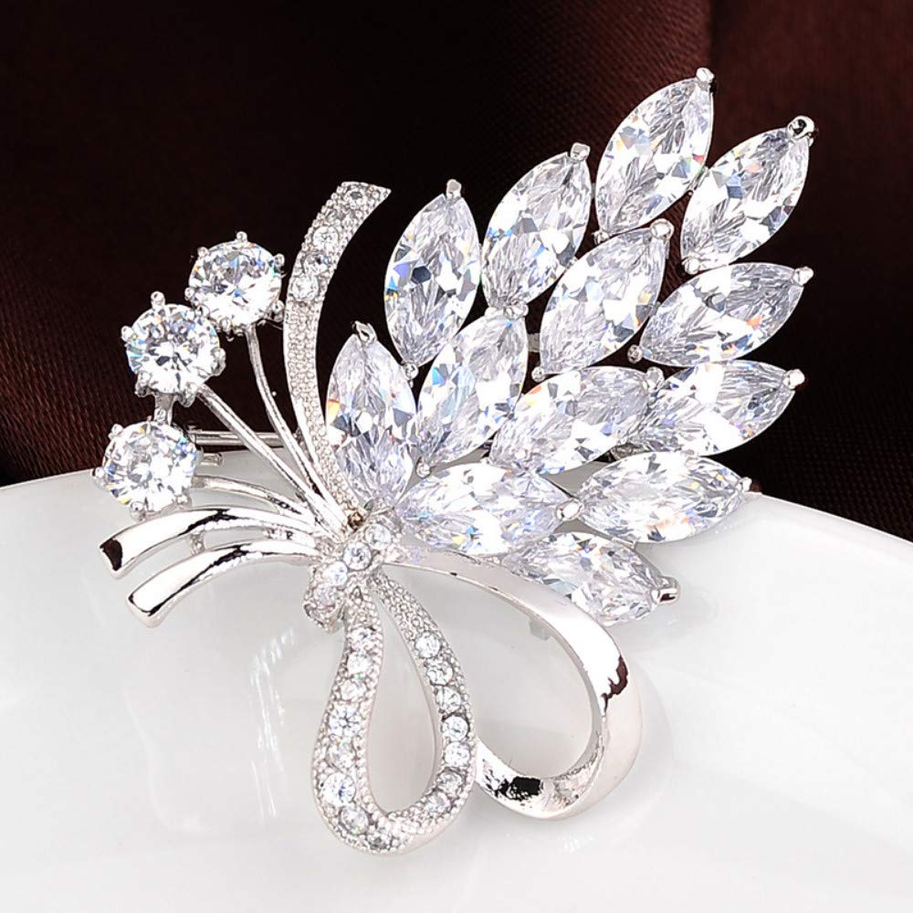 SKZKK Exquisite Fruit Grape Flower Leaf Cluster Zircon Crystal Corsage for Women Corsages Scarf Clip,Collar Pins for Women Diamond Real Gold Plating Elegant Silver