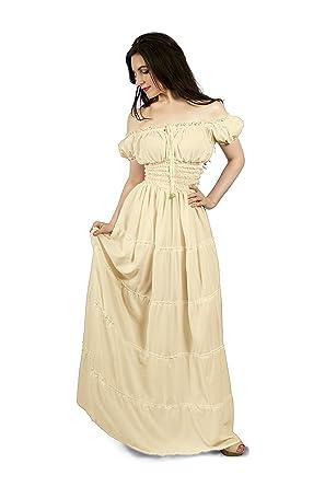 6833a5fb5cf Renaissance Peasant Faire Gown Boho Hippie Sun Maxi Dress (2XL 3XL ...