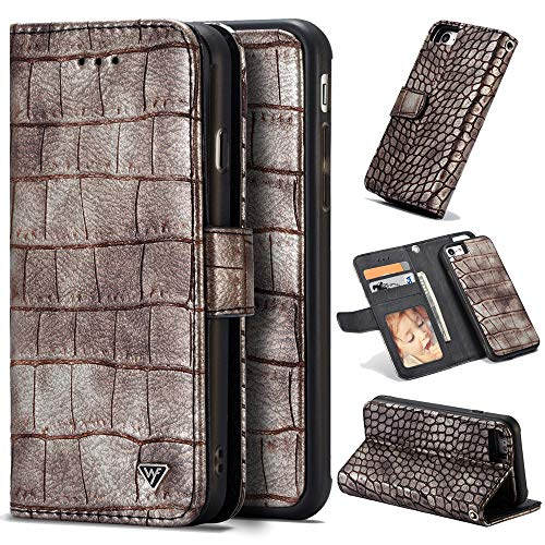 - iPhone 8 &iPhone 7 Case Wallet,CASEOWL Wallet Case for iPhone 8&iPhone 7,Magnetic Detachable Slim Case, Crocodile Pattern Premium PU Leather,Card Slots Holder,2 Kickstands,Hand Strap-Retro Brown