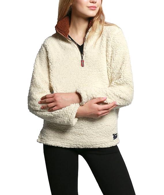 Plüsch Pullis Damen Komfortabel Locker Sport Sweatshirt Warm Flauschig  V-Ausschnitt Pullover Winter Langarm Shirt Jumper Jacke  Amazon.de   Bekleidung 75f6b30a77