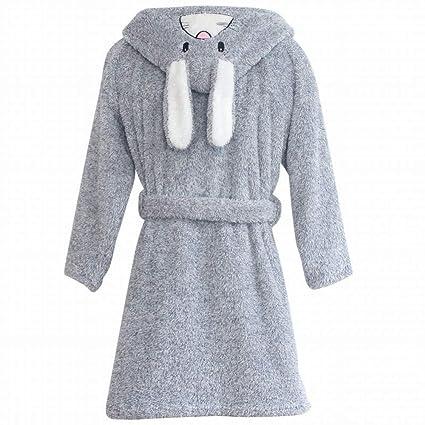 SED Pijamas - otoño e Invierno Damas Polar vellón Coral Bata de Terciopelo con Sombrero Dibujos