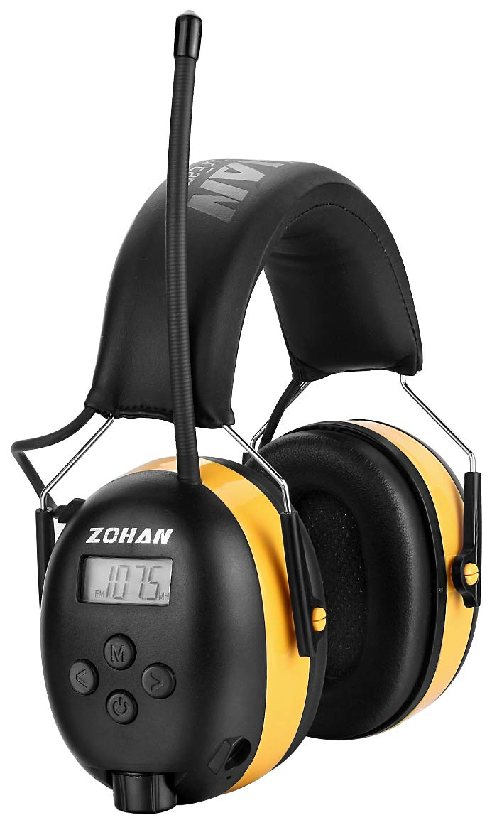 ZOHAN Type-A AM/FM Radio Headphone with Digital Display, Ear Protection Noise Reduction Safety Ear Muffs, Ideal for Lawn Mowing - Yellow by ZOHAN