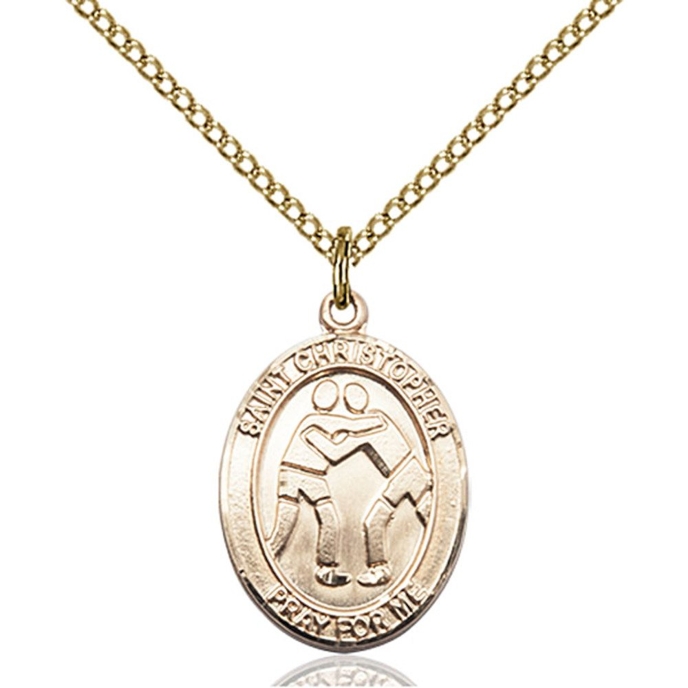 Custom Engraved Gold Filled St. Christopher/Wrestling Pendant 3/4 x 1/2 inches with Gold-Filled Lite Curb Chain by Bonyak Jewelry