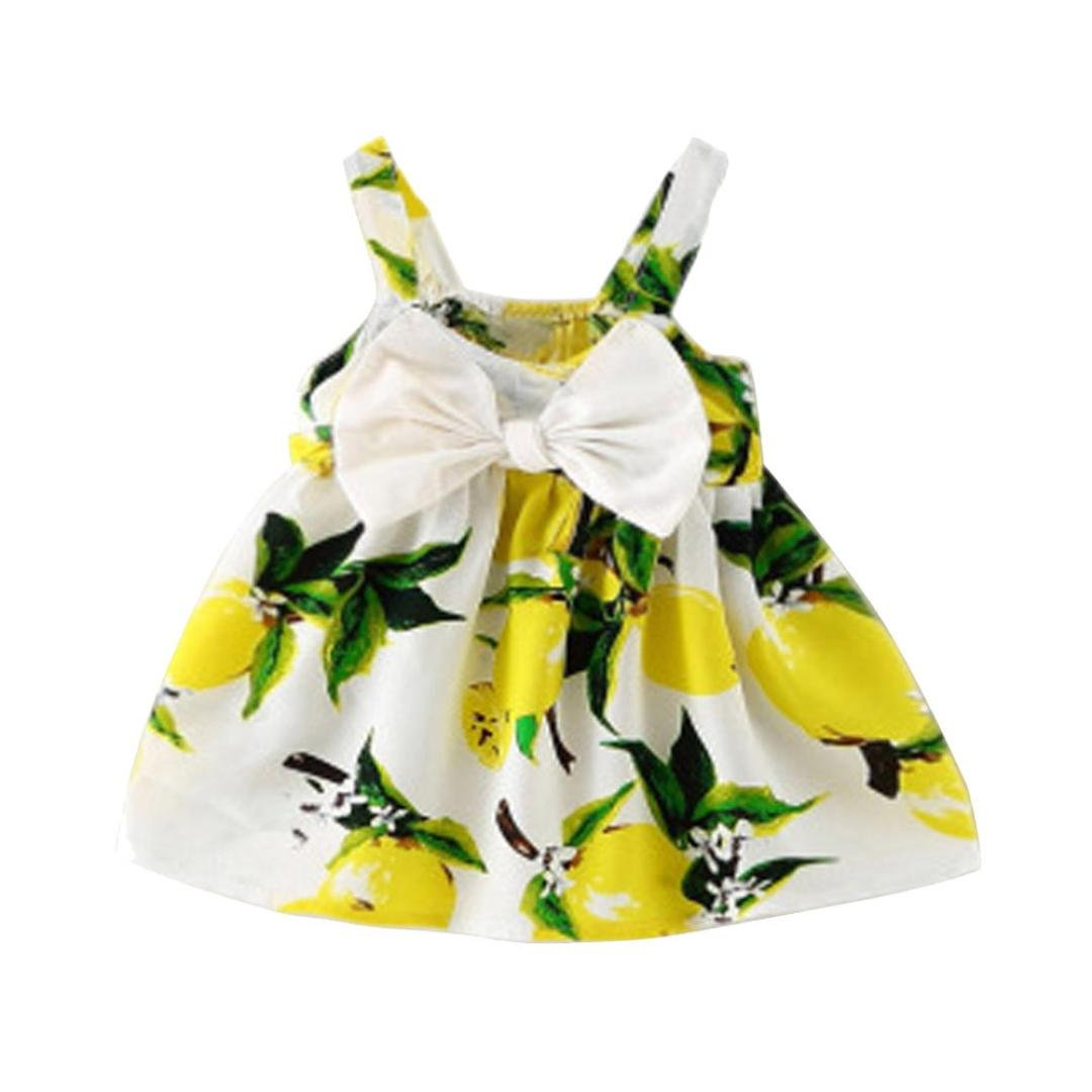 SHOBDW Girls Dresses Baby Lovely Print Lemon Printed Bowknot Sleeveless Princess Gallus Clothes Infant Summer Outfit