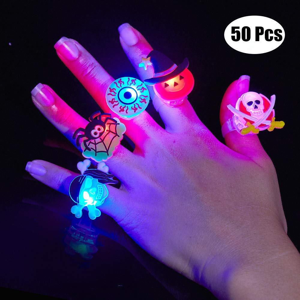 BUDI 50Pc Halloween Party Favors LED Flash Rings Halloween Gifts for Kids and Adults Halloween Treat Gift Bag Fillers Great Assortment of 50