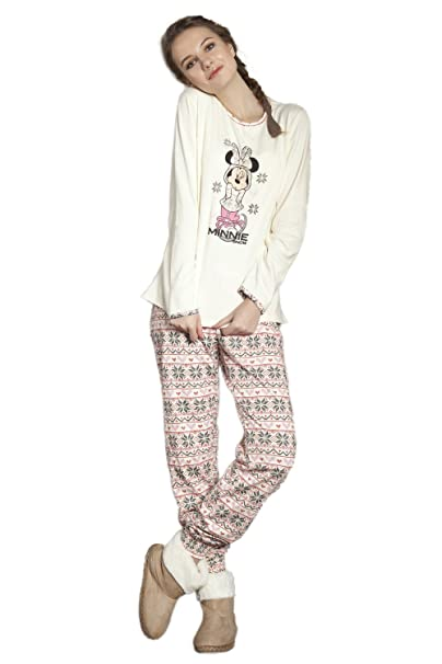 Disney - Pijama Manga Larga Mujer Minnie Snow, Color Beige, Talla Xl