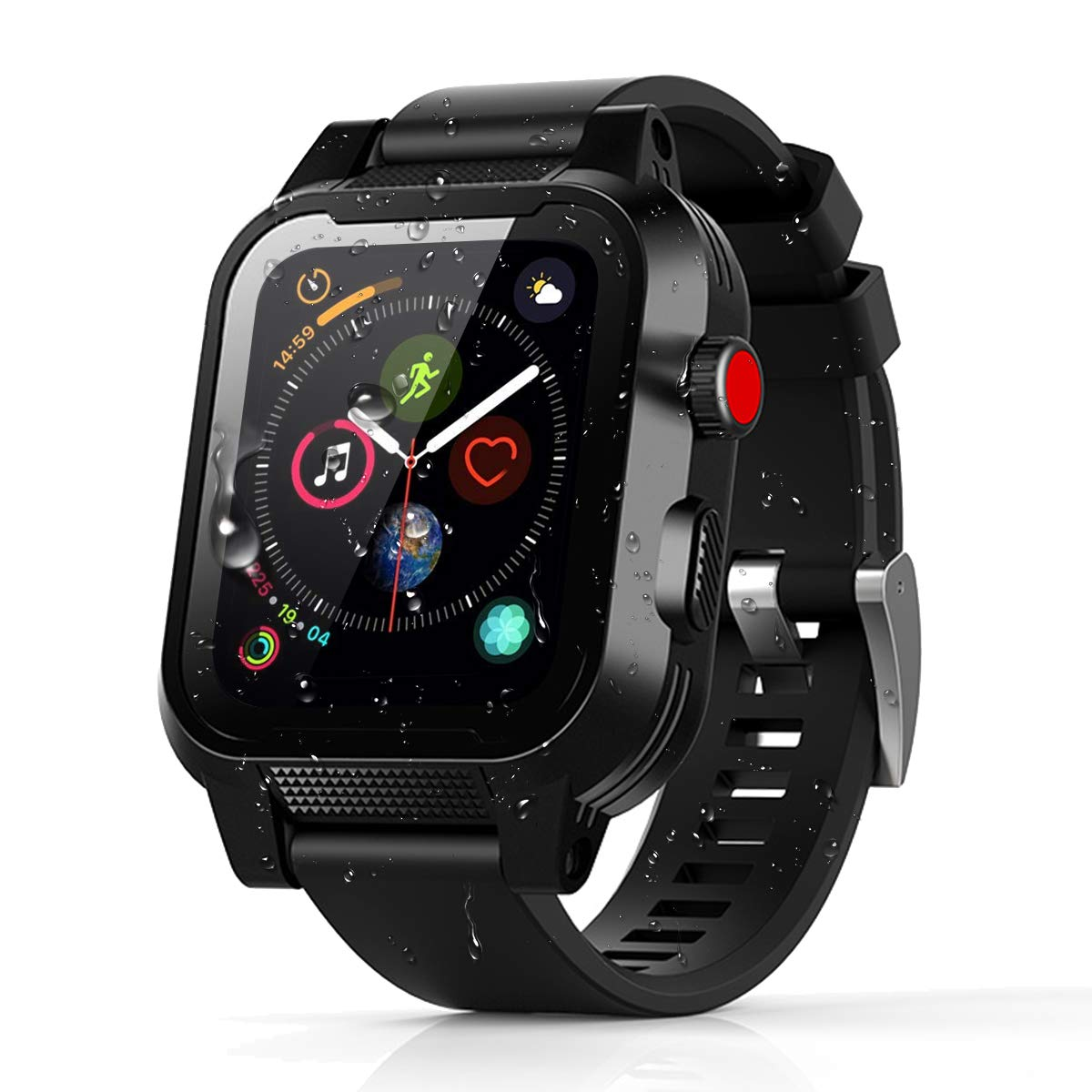 momots Apple Watch Case, Apple Watch Series 4 Full-Body Waterproof Case with Built in Screen Protector Bumper iWatch 4 Cases (iWatch 4 44mm Black) by momots