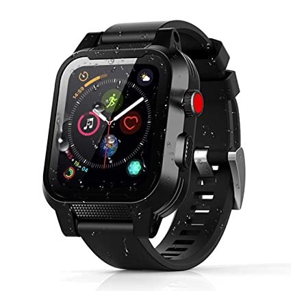 momots Apple Watch Case, Apple Watch Series 4 Full-Body Waterproof Case with Built in Screen Protector Bumper iWatch 4 Cases (iWatch 4 44mm Black)