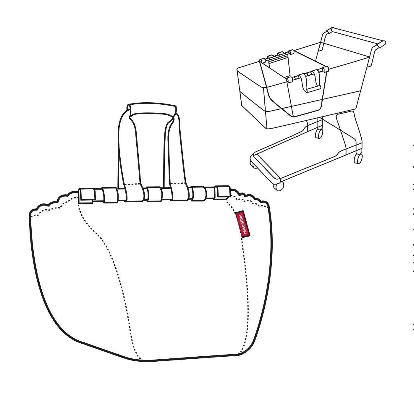 Reisenthel easyshoppingbag 2 pi/èces Sac de Courses shoppingbag easybag Artist Stripes Fifties Black