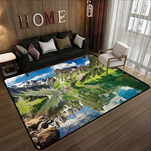 (Small Rugs,Lake House Decor Collection,Altai Mountains,Lake and Summertime Cloudy Sky Reflections Waterscape View Picture,Green Blu 71