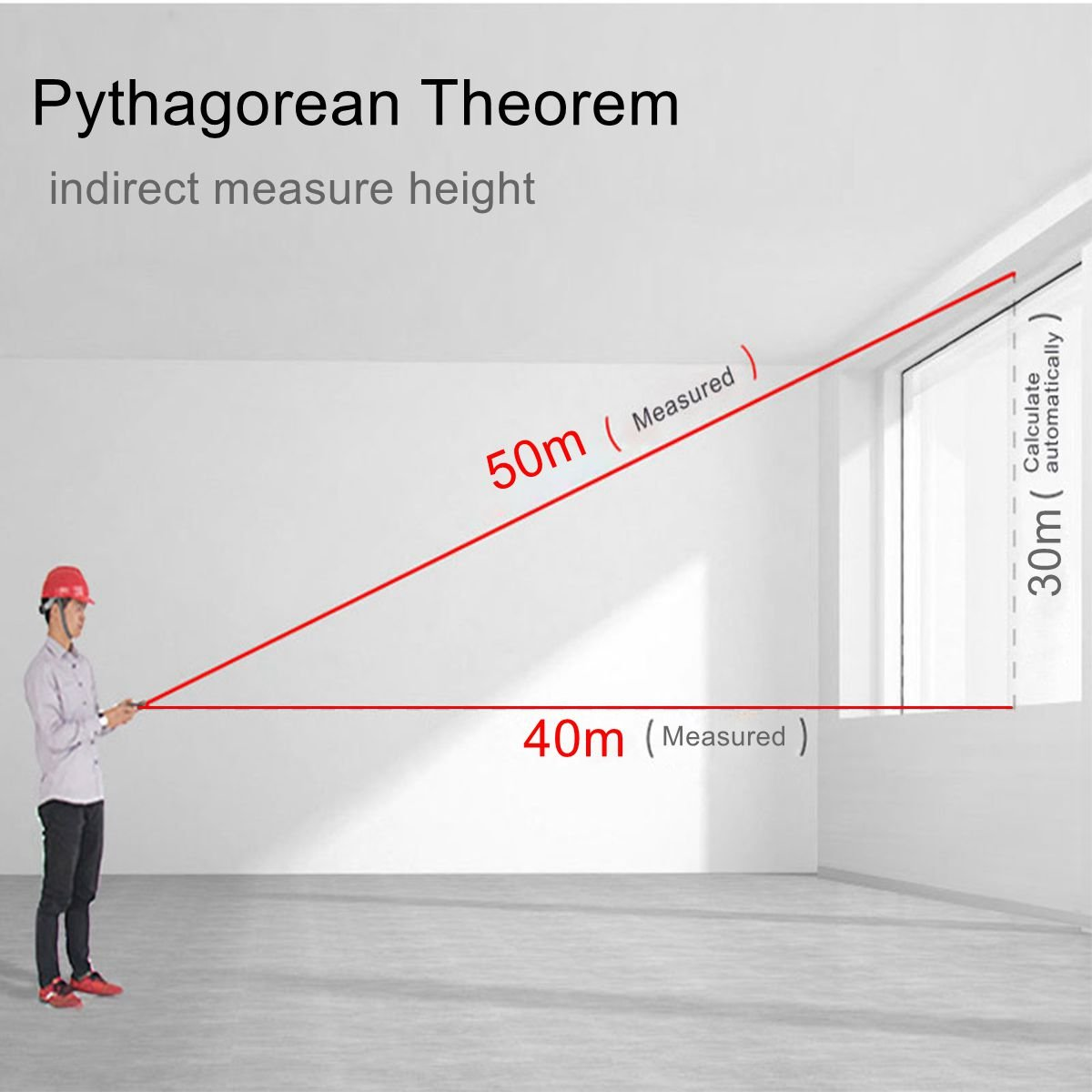 196FT, MK8 Area and Volume Prostormer 196ft 60m Distance Measure Range Finder with Pythagorean Mode and LCD Backlit Mini Portable Measuring Tool for Distance Laser Distance Meter