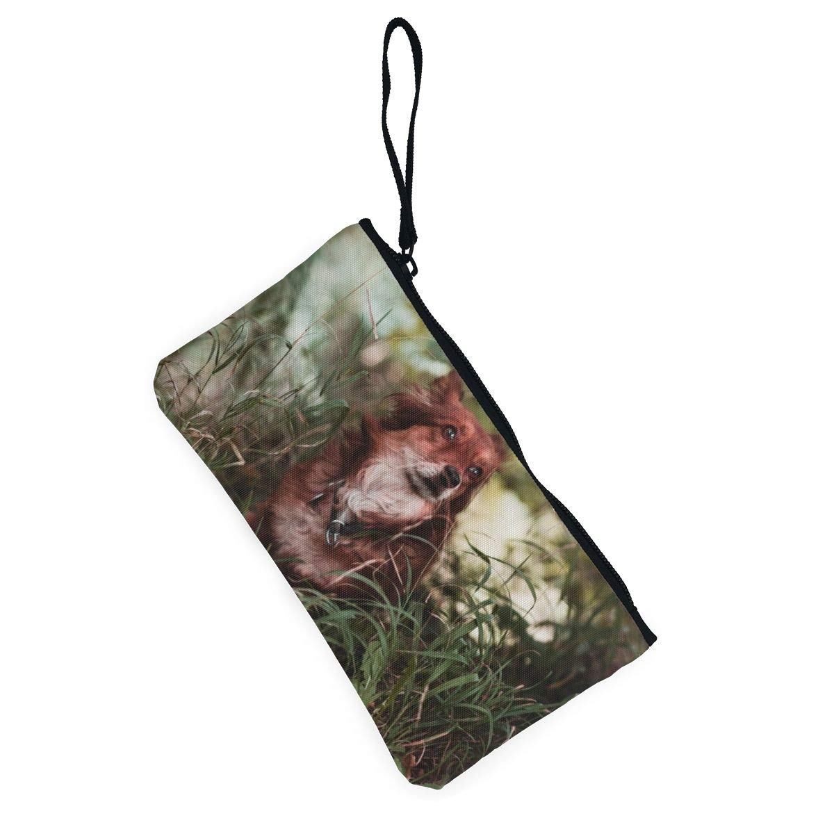 Yamini Brown Dog in Grasses Cute Looking Coin Purse Small and Exquisite Going Out to Carry Purse